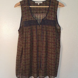 Olive and Navy Patterned Smocked Sleeveless Top